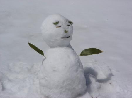オヤジ風な雪だるまになっちまった…