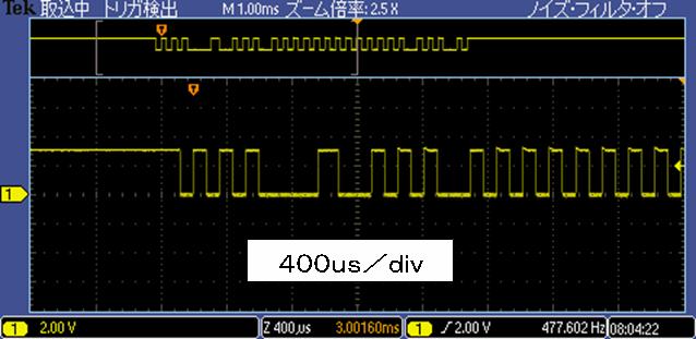 Toyラジコンの信号フォーマットCCP2波形2