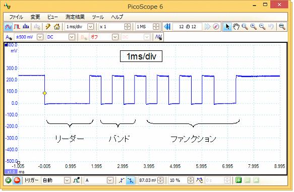 Toy赤外線リモコンの信号フォーマットQ-STEER波形3