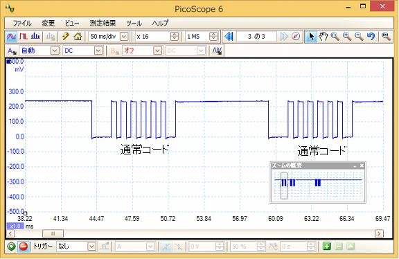 Toy赤外線リモコンの信号フォーマットQ-STEER波形5