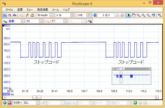 Toy赤外線リモコンの信号フォーマットQ-STEER波形6