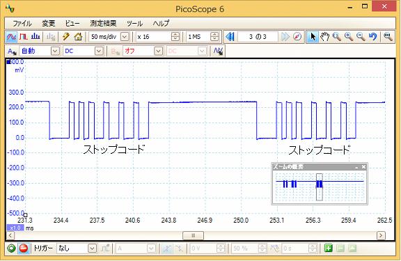 Toy赤外線リモコンの信号フォーマットQ-STEER波形7