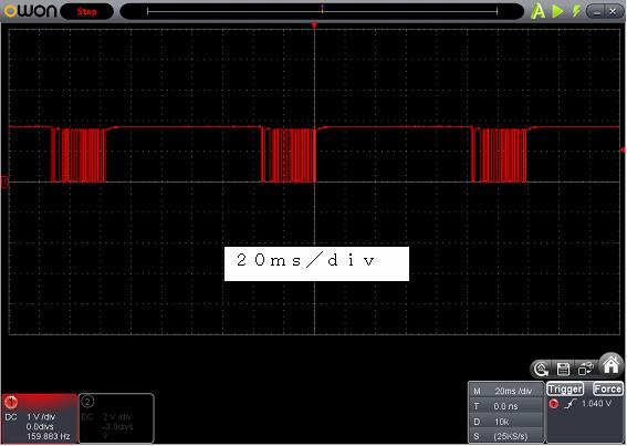 Toy赤外線リモコンの信号フォーマットSilverlit波形1