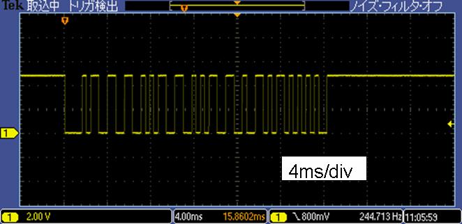 Toy赤外線リモコンの信号フォーマットProtocol社IRCヘリ波形2