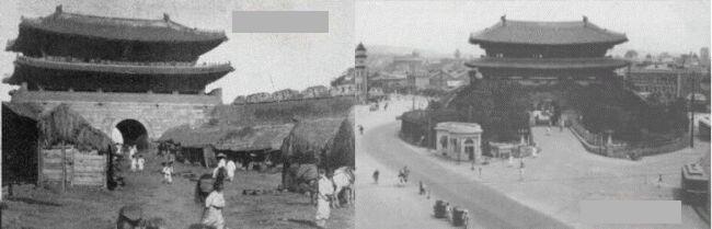 1897年当時の南大門と併合後の南大門
