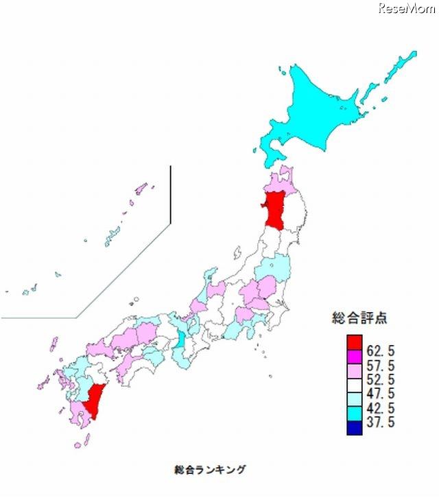 いい子が育つランキング県図