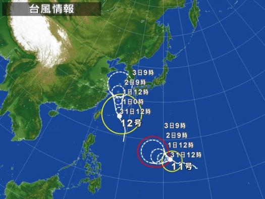 台風11・12号進路図