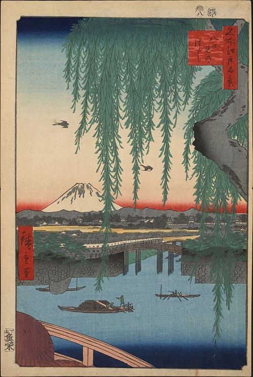 歌川広重画「八ツ見のはし」(名所江戸百景より)