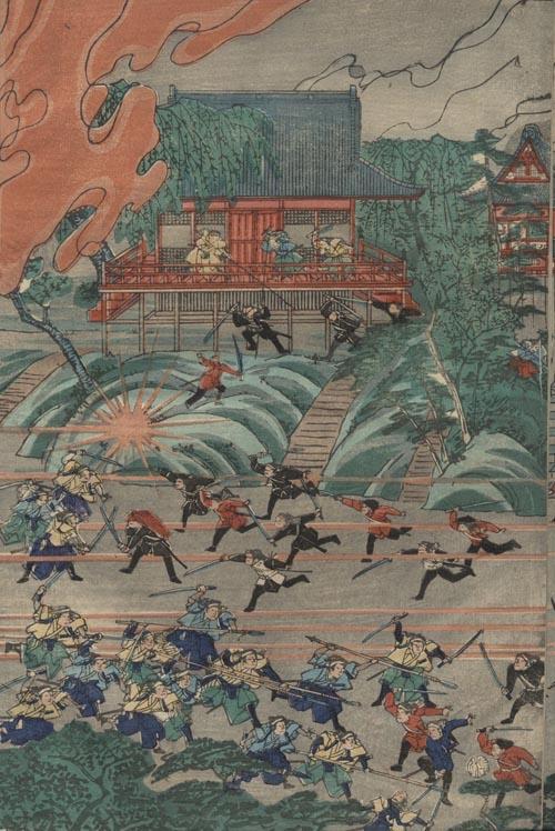 上野『本能寺合戦の図』 清水観音堂前