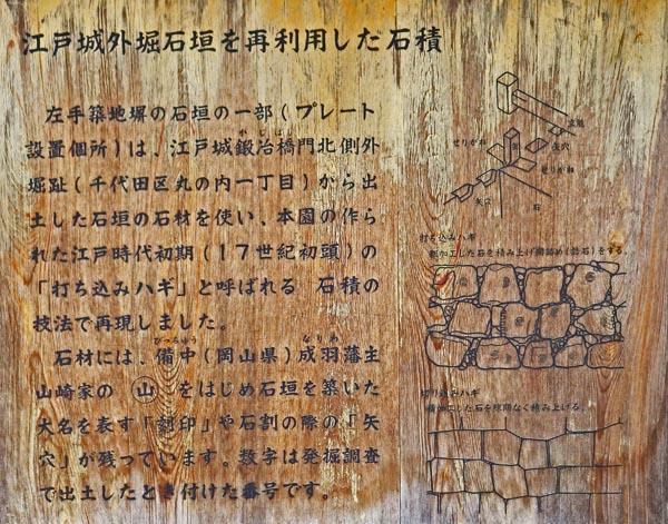 築地屏下の石垣の説明板