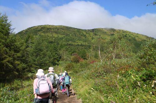 湯ノ丸山を見上げる
