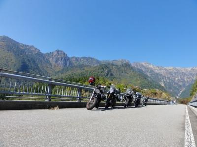 北アルプス大橋とバイクたち