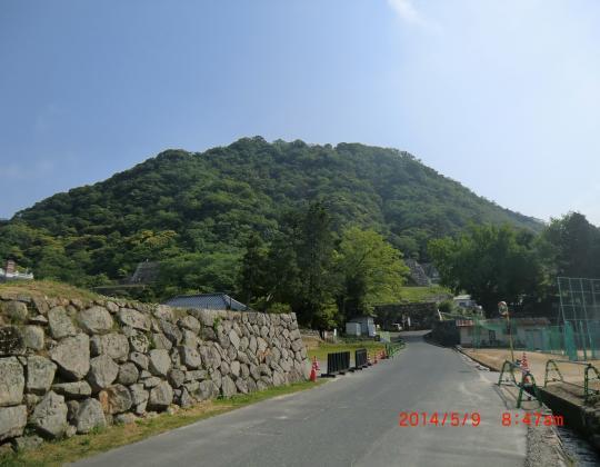 太閤ヶ原から鳥取城址山頂を望む