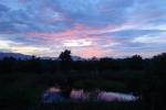 養殖池に映る夕焼け!