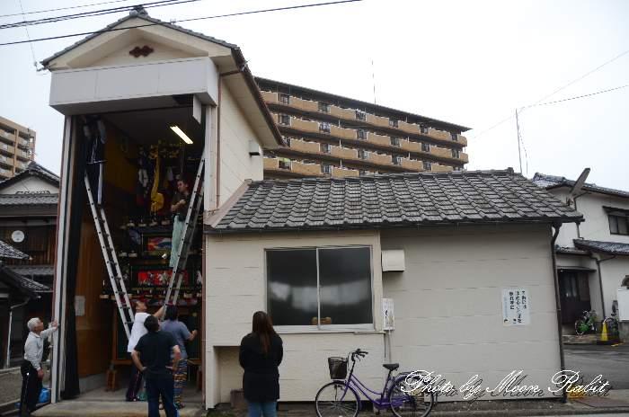 屋台組立て 古屋敷だんじり(屋台) 愛媛県西条市神拝