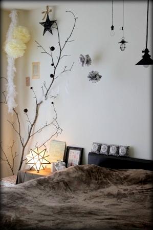 寝室の模様替え ペーパーナプキンのペーパーポンポン (5)
