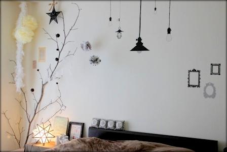 寝室の模様替え ペーパーナプキンのペーパーポンポン