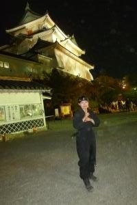 竹燈夜 天守閣前広場で 忍者さん