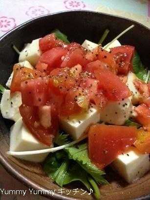 絹豆腐とトマトのオリーブ塩サラダ♪縦ブログ用