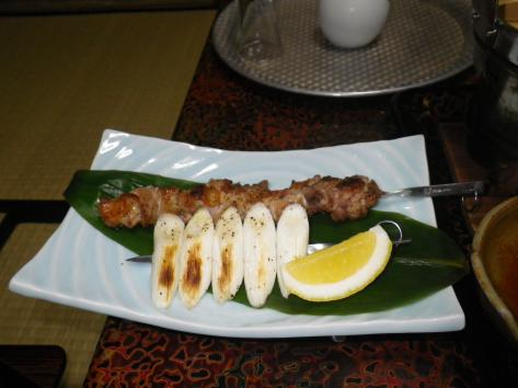 酸ヶ湯温泉 地鶏の串焼き