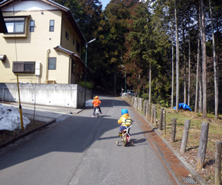自転車で公園へ
