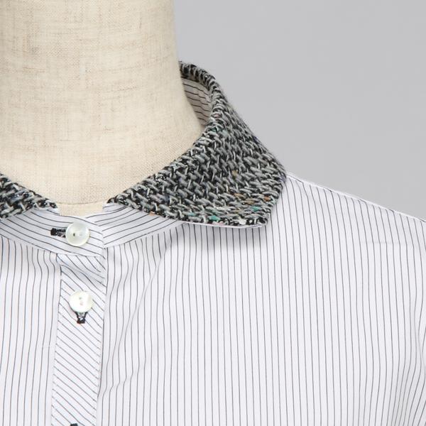 スーパーボイスの襟を取り外せるピンストライプのシャツチュニック