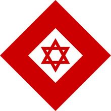 ダビデの赤盾の標章を中に入れたレッドクリスタル