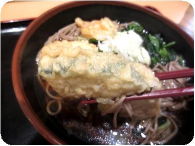 メルヘンカボチャの天ぷらそば+ほうれん草のお浸し
