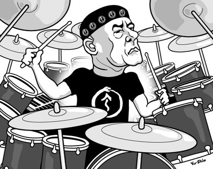 Neil Peart Rush caricature