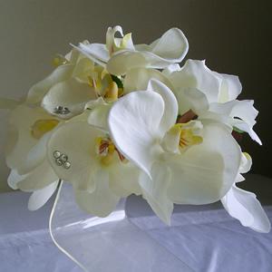 2種類の胡蝶蘭とローズの結婚式髪飾り
