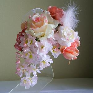ピンクローズと桜の成人式髪飾り