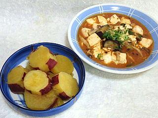 140930_2572さつま芋の甘辛煮・麻婆豆腐