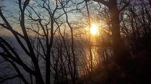 春の海夕日