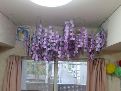 きゅうりネットを使った藤の花