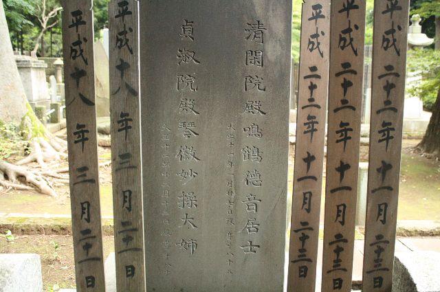 豪徳寺にある日下部鳴鶴の墓石 呉昌碩書