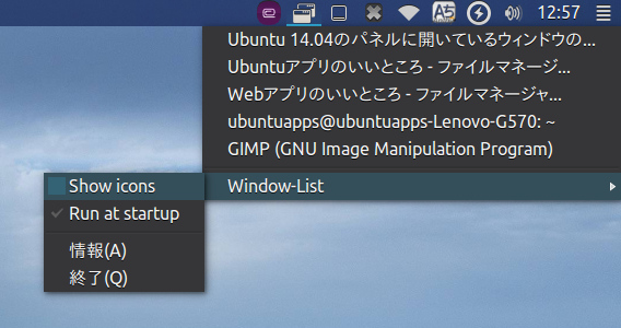 Window-List Ubuntu 開いているウィンドウの一覧 オプション
